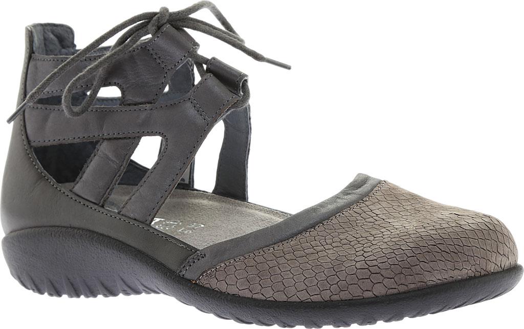Women's Naot Kata Gladiator Sandal, Gray Iguana/Shadow Gray Nubuck/Tin Gray Leather, large, image 1