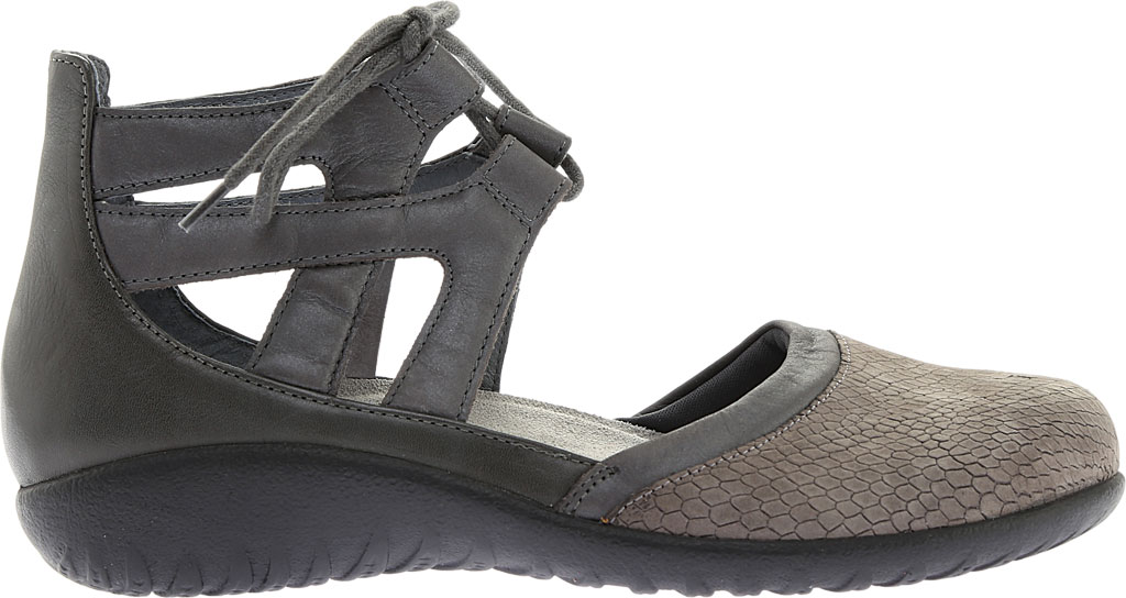 Women's Naot Kata Gladiator Sandal, Gray Iguana/Shadow Gray Nubuck/Tin Gray Leather, large, image 2