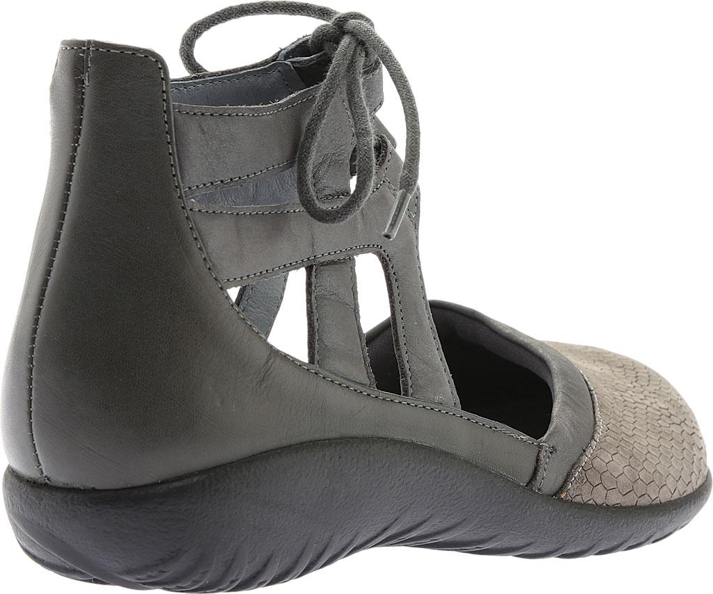Women's Naot Kata Gladiator Sandal, Gray Iguana/Shadow Gray Nubuck/Tin Gray Leather, large, image 4