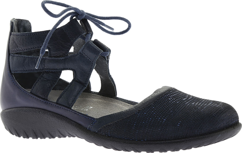 Women's Naot Kata Gladiator Sandal, Navy Reptile Leather/Ink Leather/Polar Sea Leather, large, image 1