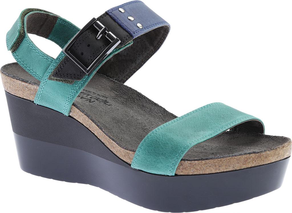 Women's Naot Alpha Wedge Sandal, Oily Emerald/Blue/Coal Nubuck, large, image 1