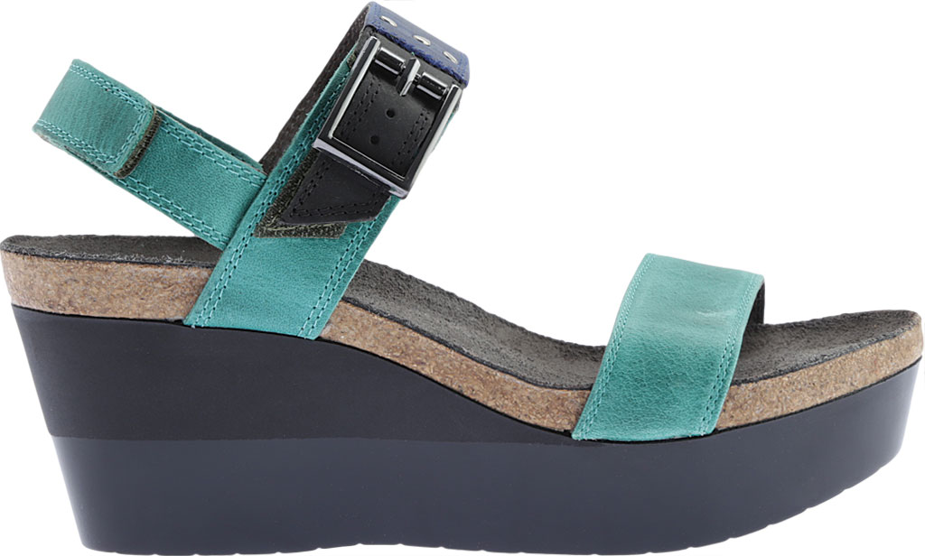 Women's Naot Alpha Wedge Sandal, Oily Emerald/Blue/Coal Nubuck, large, image 2