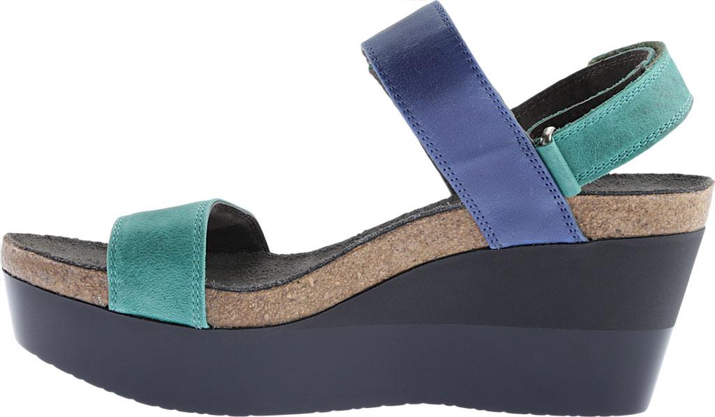 Women's Naot Alpha Wedge Sandal, Oily Emerald/Blue/Coal Nubuck, large, image 3