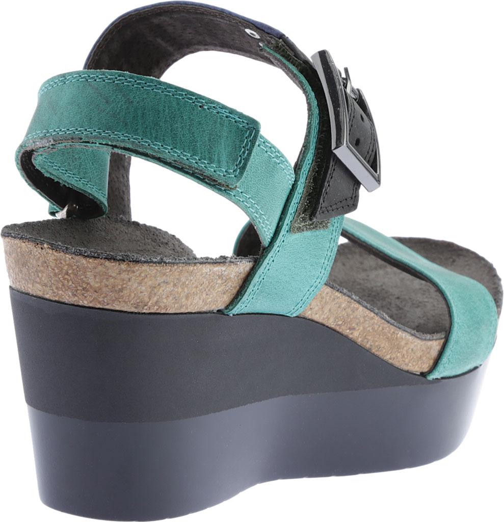 Women's Naot Alpha Wedge Sandal, Oily Emerald/Blue/Coal Nubuck, large, image 4