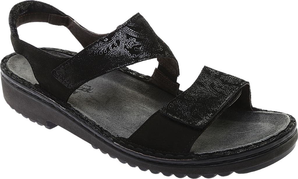 Women's Naot Enid Flat Sandal, Black Lace Nubuck/Black Velvet Nubuck, large, image 1