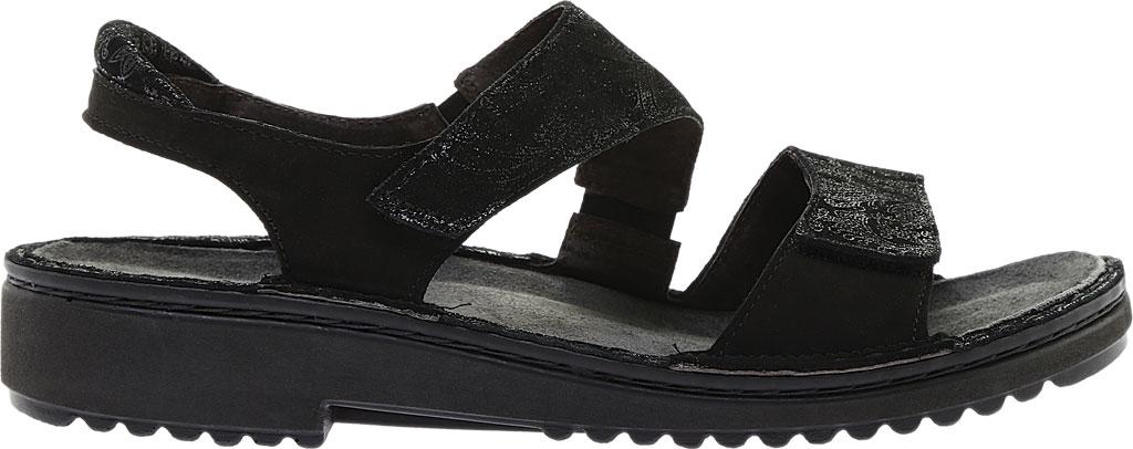 Women's Naot Enid Flat Sandal, Black Lace Nubuck/Black Velvet Nubuck, large, image 2