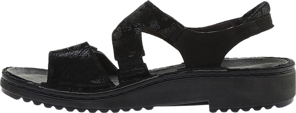 Women's Naot Enid Flat Sandal, Black Lace Nubuck/Black Velvet Nubuck, large, image 3