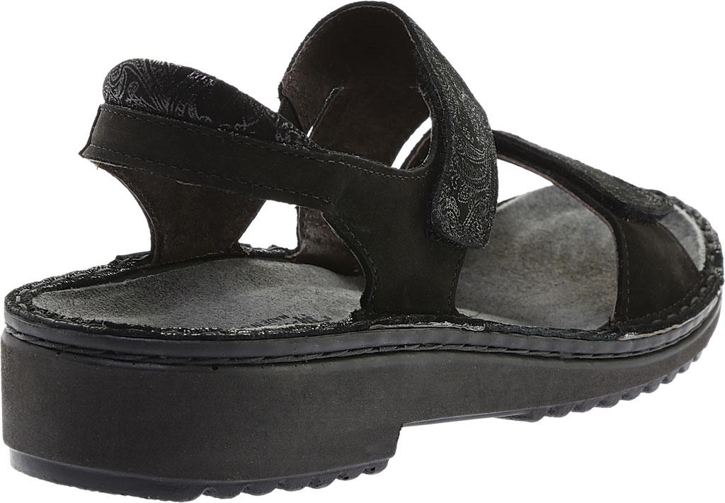 Women's Naot Enid Flat Sandal, Black Lace Nubuck/Black Velvet Nubuck, large, image 4
