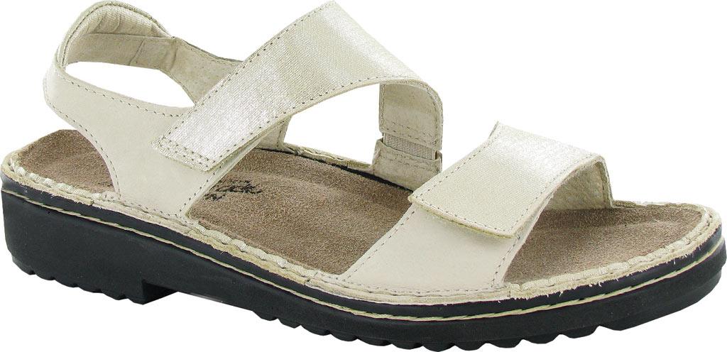 Women's Naot Enid Flat Sandal, Gold Threads Leather/Beige Nubuck, large, image 1