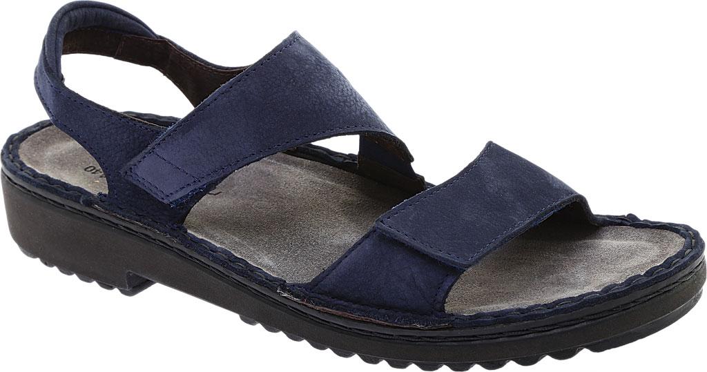 Women's Naot Enid Flat Sandal, Navy Velvet/Nubuck Leather, large, image 1