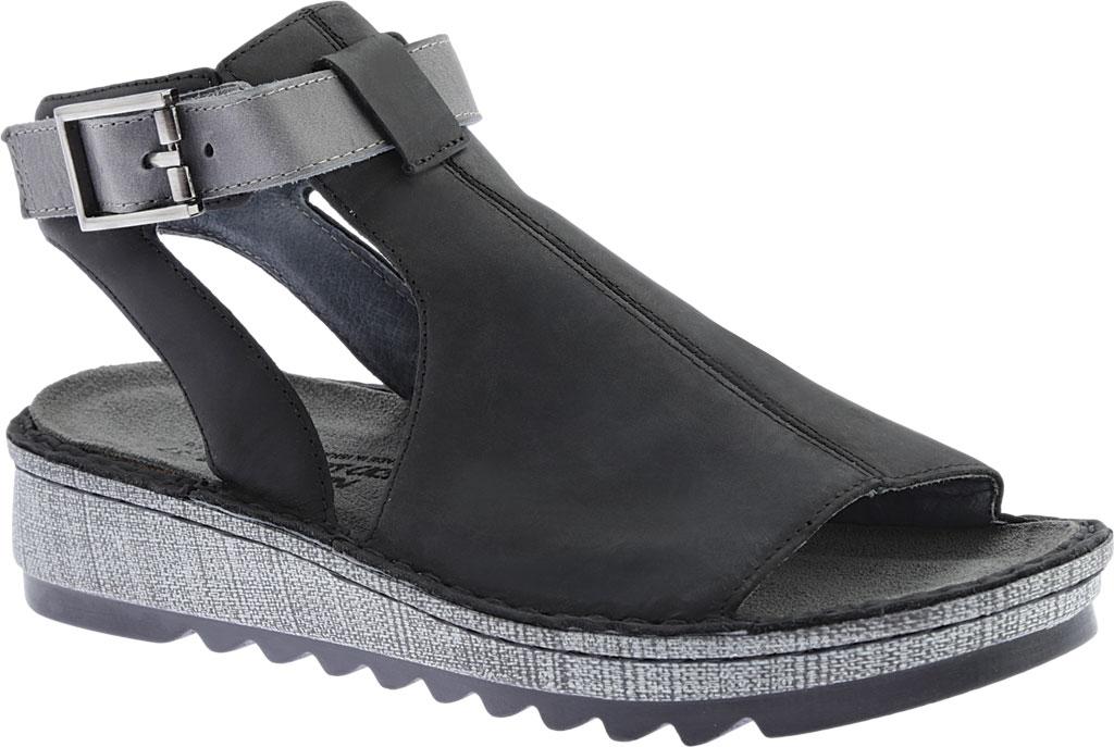 Women's Naot Verbena Wedge Sandal, Oily Coal Nubuck/Vintage Slate Leather, large, image 1