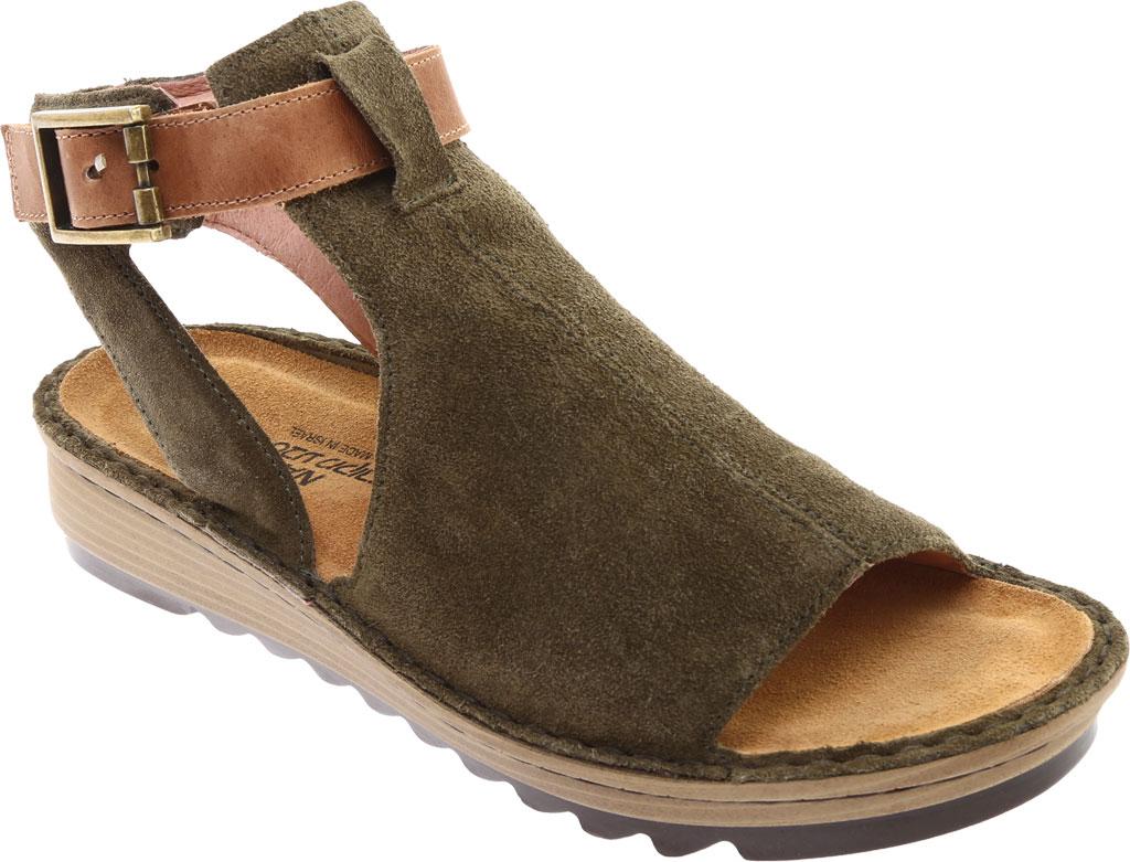Women's Naot Verbena Wedge Sandal, Brushed Oily Olive Suede/Vintage Camel Leather, large, image 1