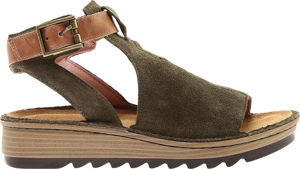 Women's Naot Verbena Wedge Sandal, Brushed Oily Olive Suede/Vintage Camel Leather, large, image 2