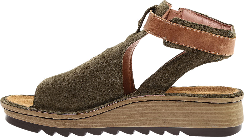 Women's Naot Verbena Wedge Sandal, Brushed Oily Olive Suede/Vintage Camel Leather, large, image 3
