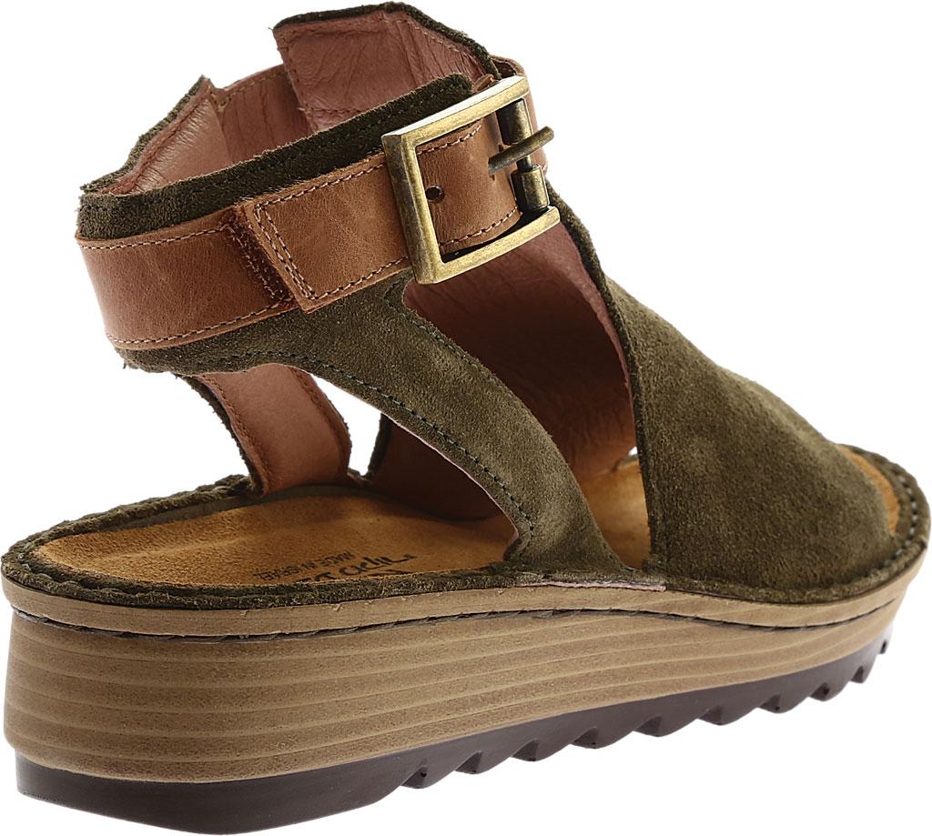 Women's Naot Verbena Wedge Sandal, Brushed Oily Olive Suede/Vintage Camel Leather, large, image 4