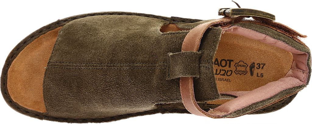 Women's Naot Verbena Wedge Sandal, Brushed Oily Olive Suede/Vintage Camel Leather, large, image 5