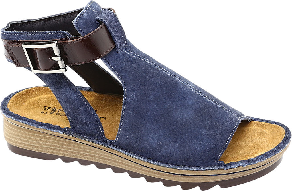 Women's Naot Verbena Wedge Sandal, Midnight Blue Suede/Walnut Leather, large, image 1