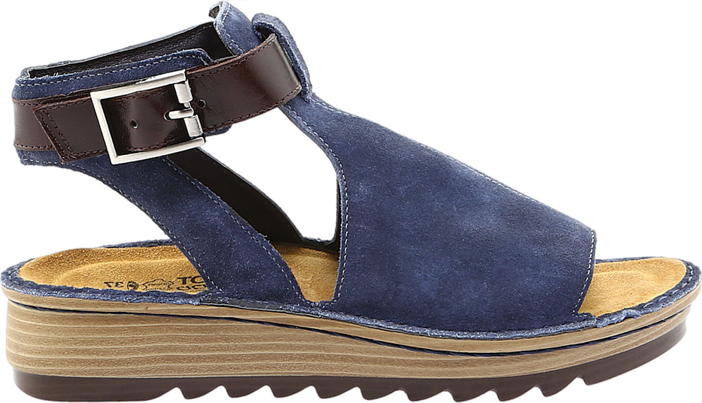 Women's Naot Verbena Wedge Sandal, Midnight Blue Suede/Walnut Leather, large, image 2