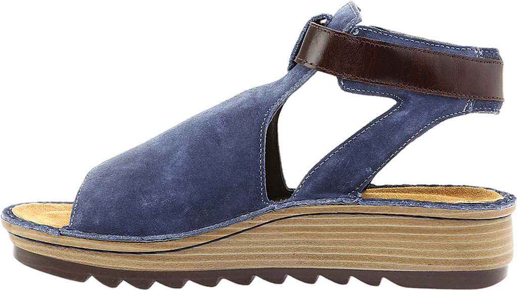 Women's Naot Verbena Wedge Sandal, Midnight Blue Suede/Walnut Leather, large, image 3