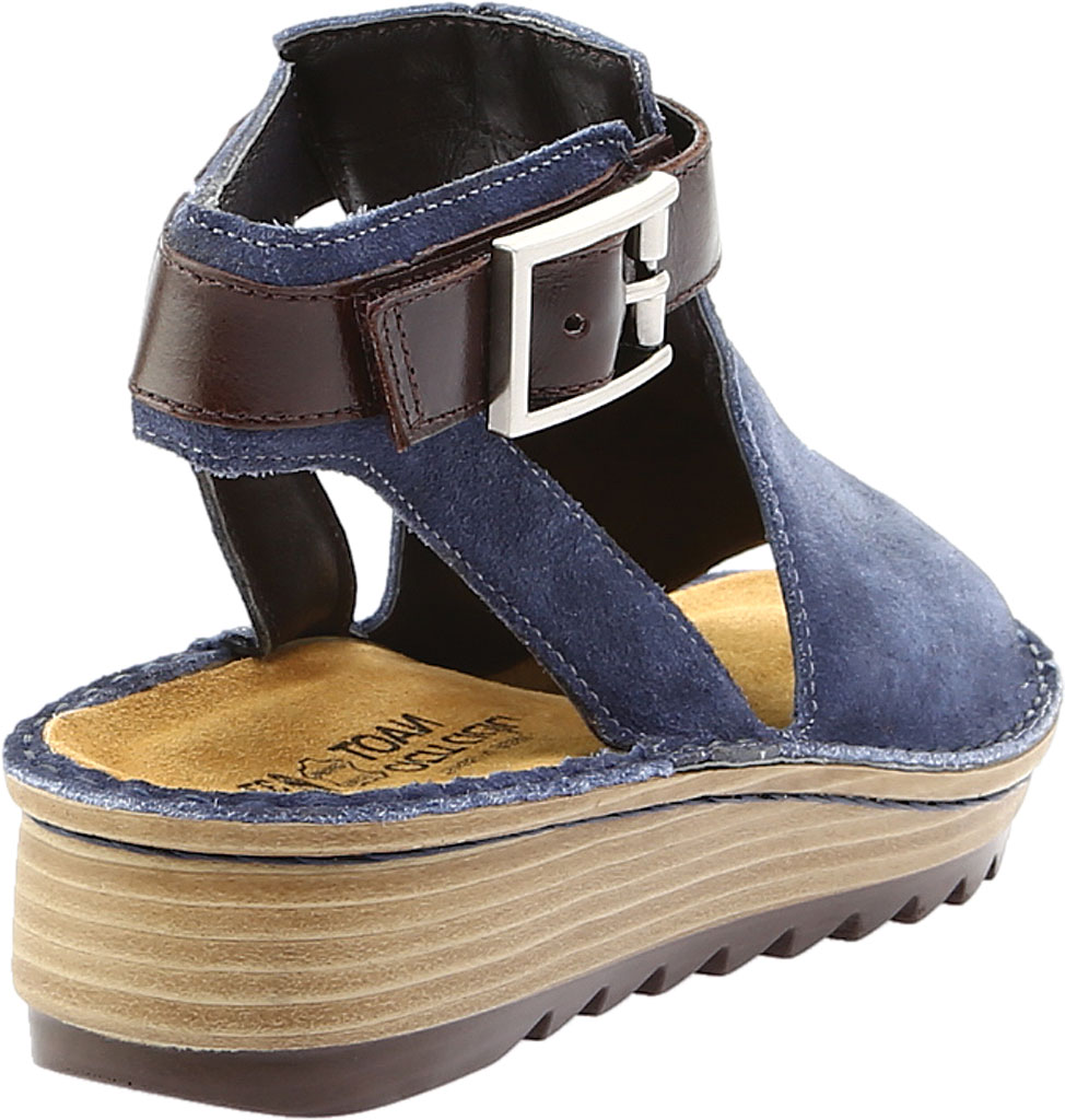 Women's Naot Verbena Wedge Sandal, Midnight Blue Suede/Walnut Leather, large, image 4