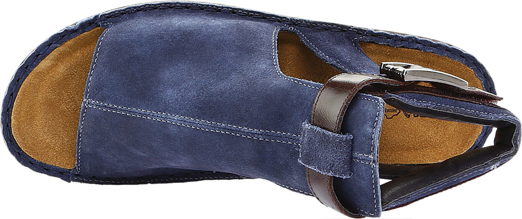 Women's Naot Verbena Wedge Sandal, Midnight Blue Suede/Walnut Leather, large, image 5
