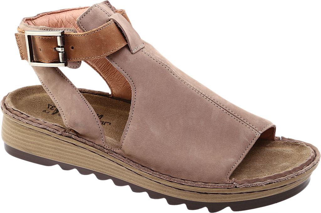 Women's Naot Verbena Wedge Sandal, Stone/Latte Brown Nubuck/Leather, large, image 1