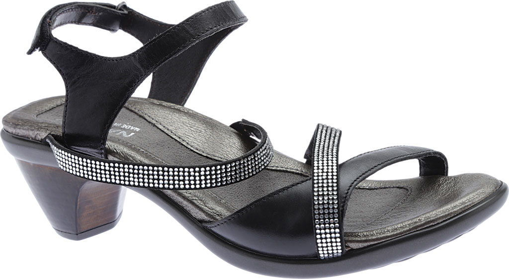 Women's Naot Innovate Heeled Sandal, Black Madras Leather/Microfiber/Clear Rhinestones, large, image 1