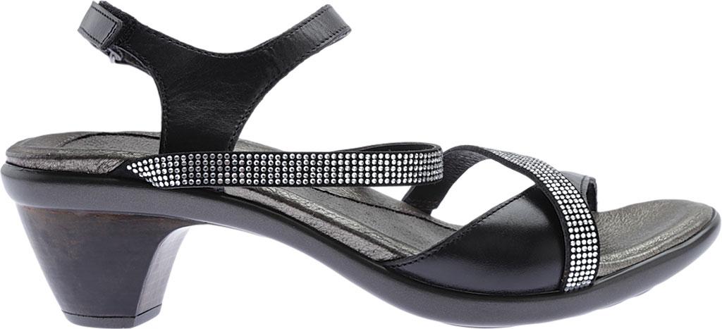 Women's Naot Innovate Heeled Sandal, Black Madras Leather/Microfiber/Clear Rhinestones, large, image 2