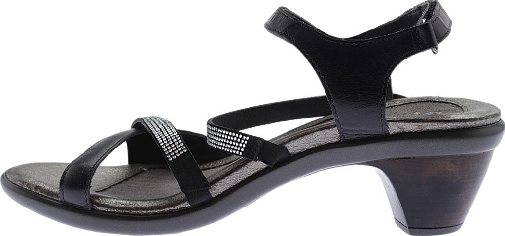 Women's Naot Innovate Heeled Sandal, Black Madras Leather/Microfiber/Clear Rhinestones, large, image 3