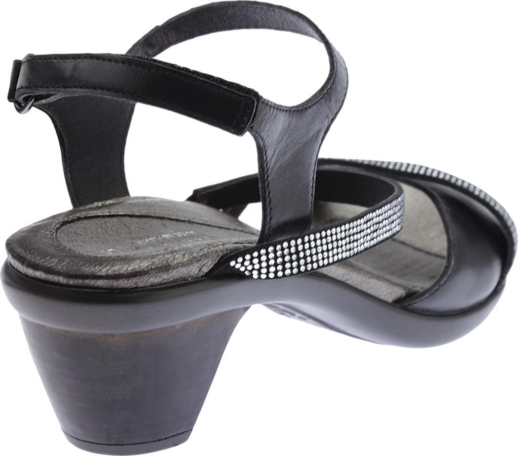 Women's Naot Innovate Heeled Sandal, Black Madras Leather/Microfiber/Clear Rhinestones, large, image 4