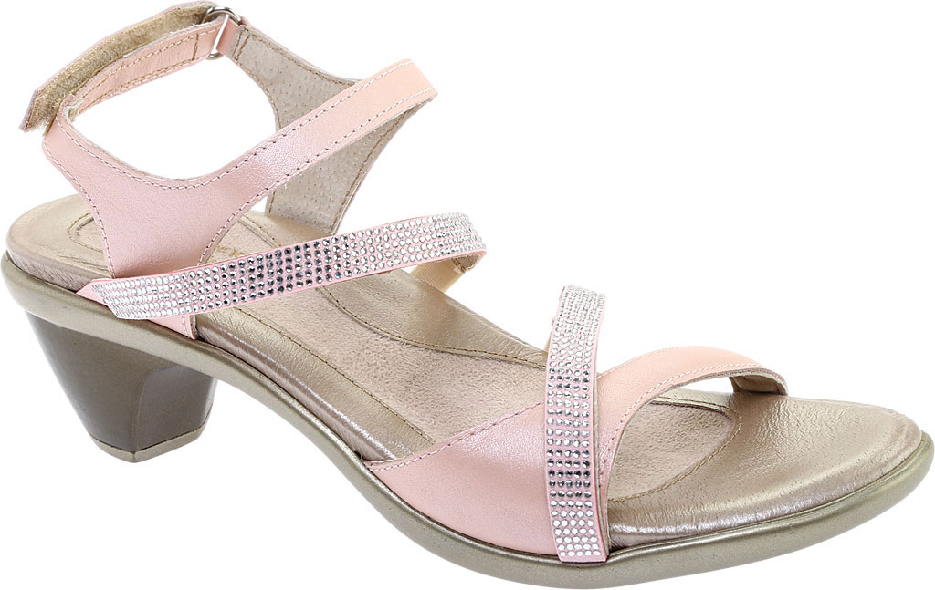 Women's Naot Innovate Heeled Sandal, Pearl Rose/Silver Rivet Leather, large, image 1