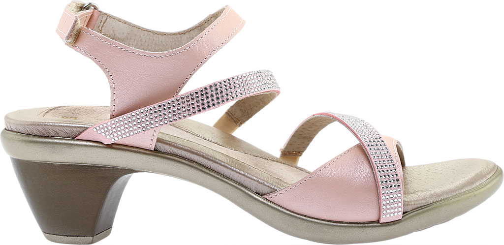 Women's Naot Innovate Heeled Sandal, Pearl Rose/Silver Rivet Leather, large, image 2