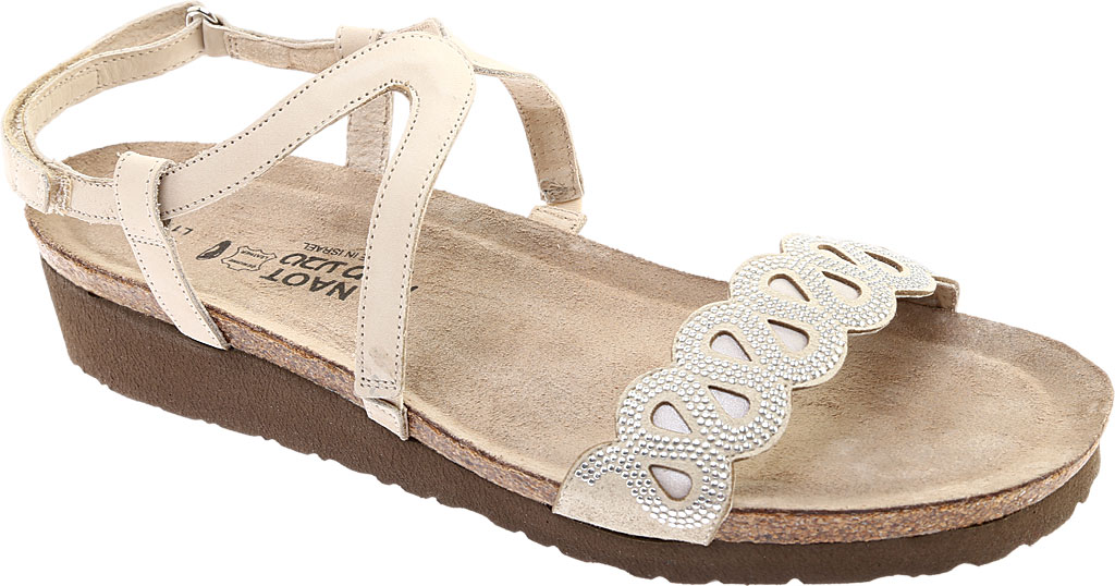 Women's Naot Addie Ankle Strap Sandal, Beige/Silver Rivets/Beige Nubuck/Quartz Leather, large, image 1