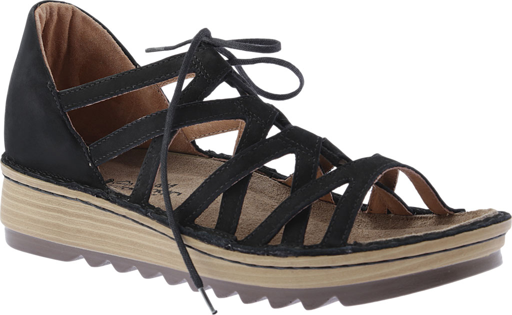 Women's Naot Yarrow Wedge Sandal, Black Velvet Nubuck, large, image 1