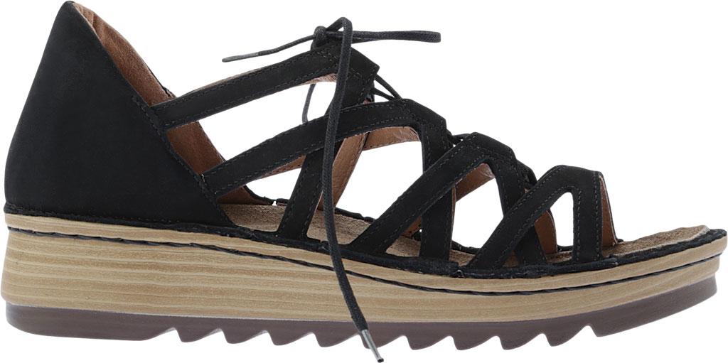Women's Naot Yarrow Wedge Sandal, Black Velvet Nubuck, large, image 2