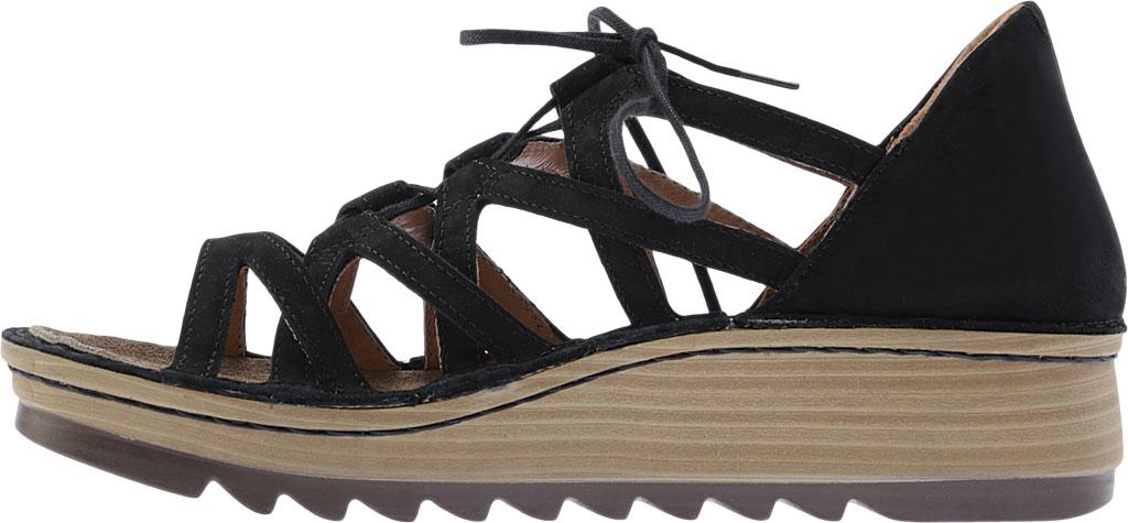 Women's Naot Yarrow Wedge Sandal, Black Velvet Nubuck, large, image 3