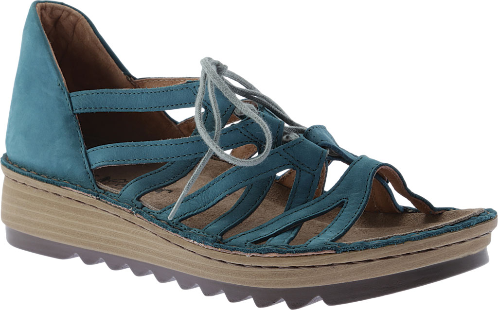 Women's Naot Yarrow Wedge Sandal, Teal Nubuck, large, image 1