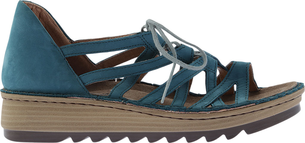 Women's Naot Yarrow Wedge Sandal, Teal Nubuck, large, image 2