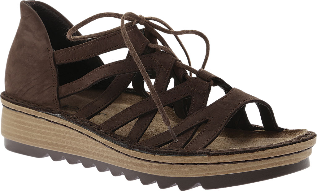 Women's Naot Yarrow Wedge Sandal, Coffee Nubuck, large, image 1
