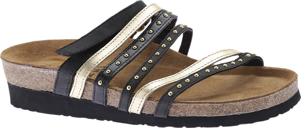 Women's Naot Prescott Slide, Oily Coal Nubuck/Gold/Black Madras Leather, large, image 1