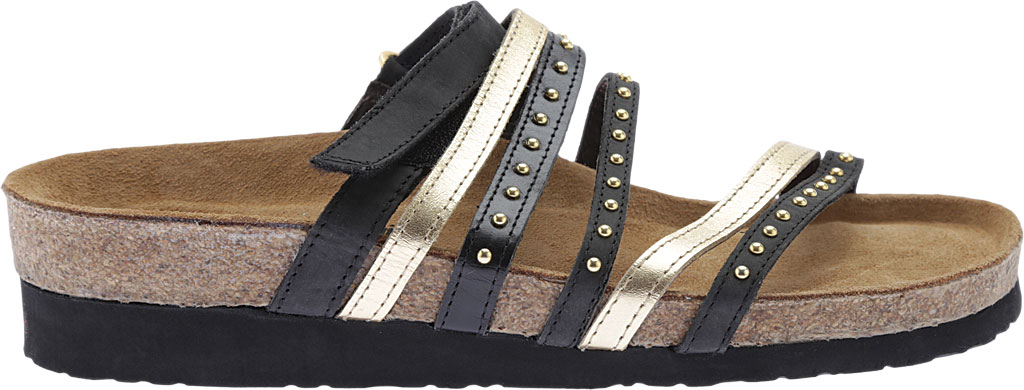 Women's Naot Prescott Slide, Oily Coal Nubuck/Gold/Black Madras Leather, large, image 2