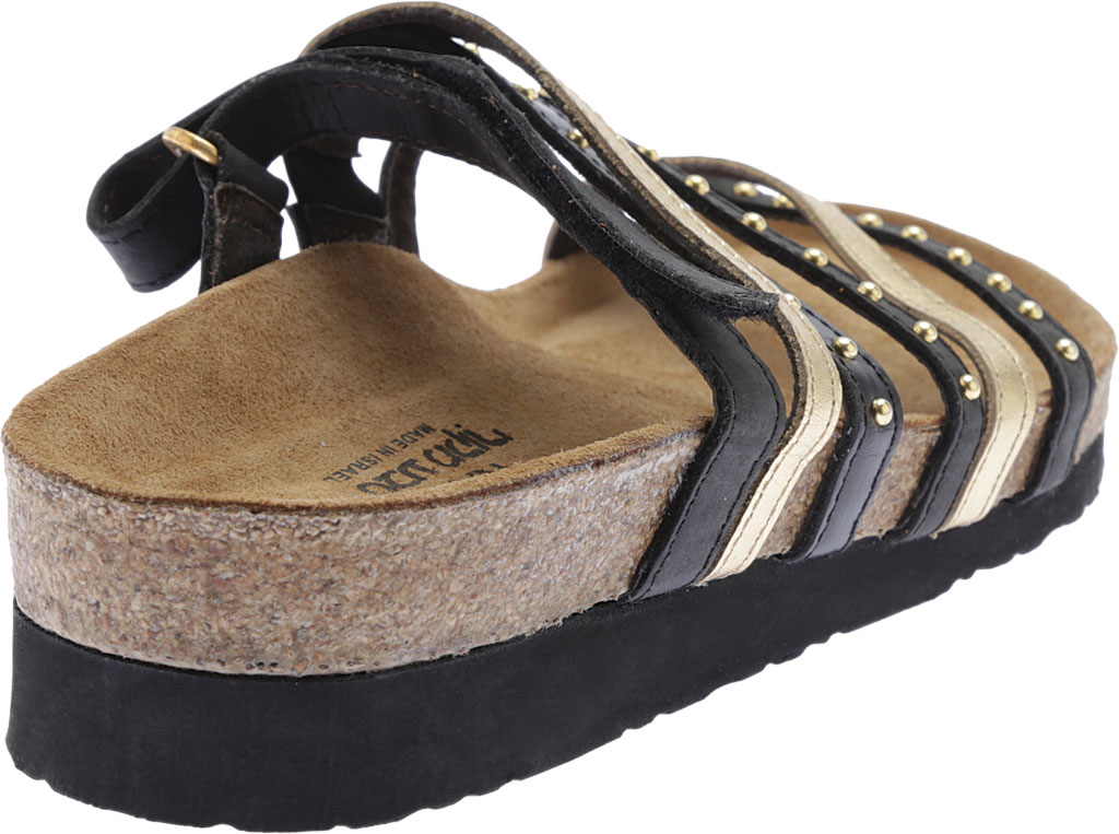 Women's Naot Prescott Slide, Oily Coal Nubuck/Gold/Black Madras Leather, large, image 4
