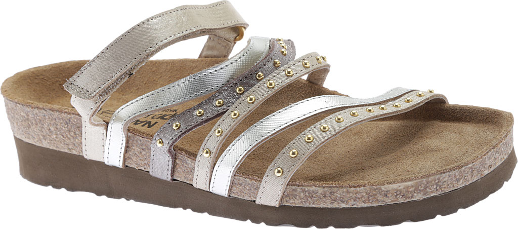 Women's Naot Prescott Slide, Gold/Silver Threads Leather/Silver Luster Leather, large, image 1
