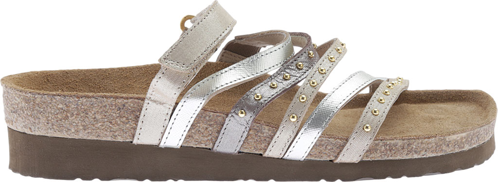 Women's Naot Prescott Slide, Gold/Silver Threads Leather/Silver Luster Leather, large, image 2