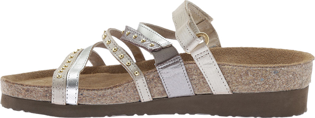 Women's Naot Prescott Slide, Gold/Silver Threads Leather/Silver Luster Leather, large, image 3