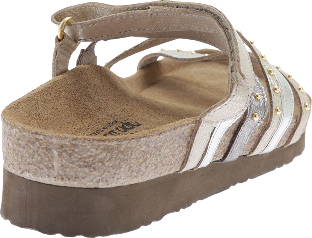 Women's Naot Prescott Slide, Gold/Silver Threads Leather/Silver Luster Leather, large, image 4