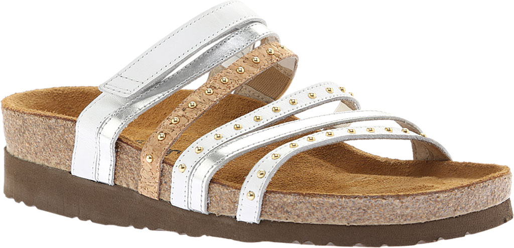 Women's Naot Prescott Slide, White Leather/Silver Mirror Leather/Cork Leather, large, image 1