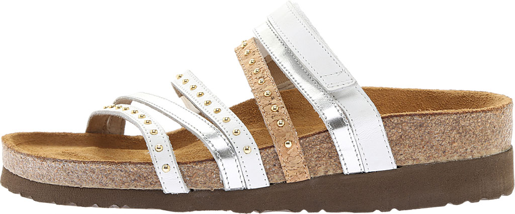 Women's Naot Prescott Slide, White Leather/Silver Mirror Leather/Cork Leather, large, image 3