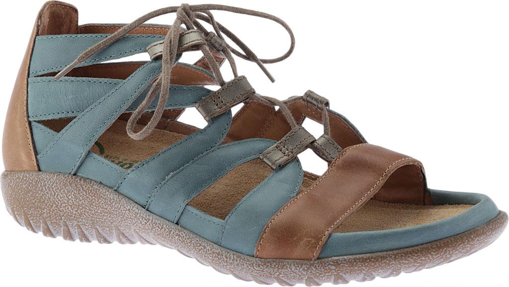 Women's Naot Selo Gladiator Sandal, Sea Green/Latte Brown/Pewter Leather, large, image 1