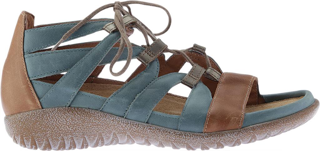 Women's Naot Selo Gladiator Sandal, Sea Green/Latte Brown/Pewter Leather, large, image 2